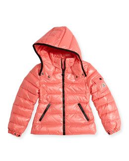 K02J2 Moncler Bady Shiny Puffer Jacket, Coral, Sizes 2-12