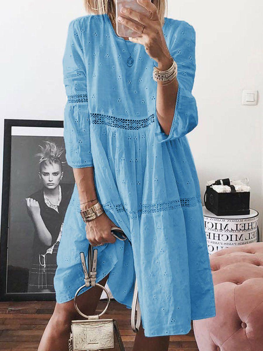 Shop Dresses Shenewin Shirt Dress Casual Dresses Daily Shift Crew Neck 3 4 Sleeve Sweet Paneled Dresses Online Dis Plyazhnye Platya Povsednevnye Platya Naryady [ 1200 x 900 Pixel ]