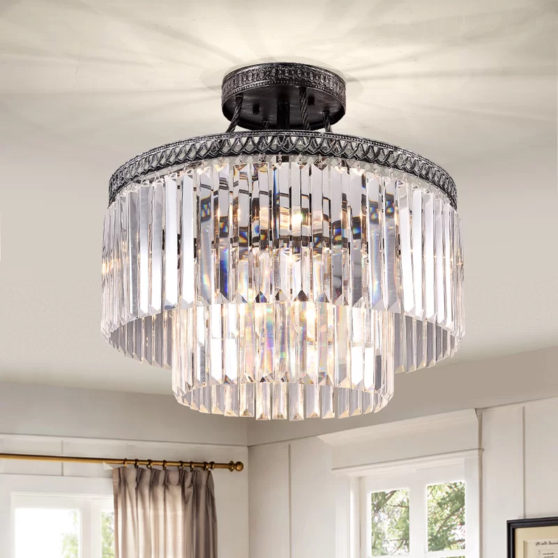 Eitzen 6 Light 20 4 Semi Flush Mount Contemporary Crystal Chandelier Light Contemporary Ceiling Light
