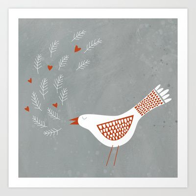 La la la Art Print by Nic Squirrell - $19.00  White patterned bird with hearts.