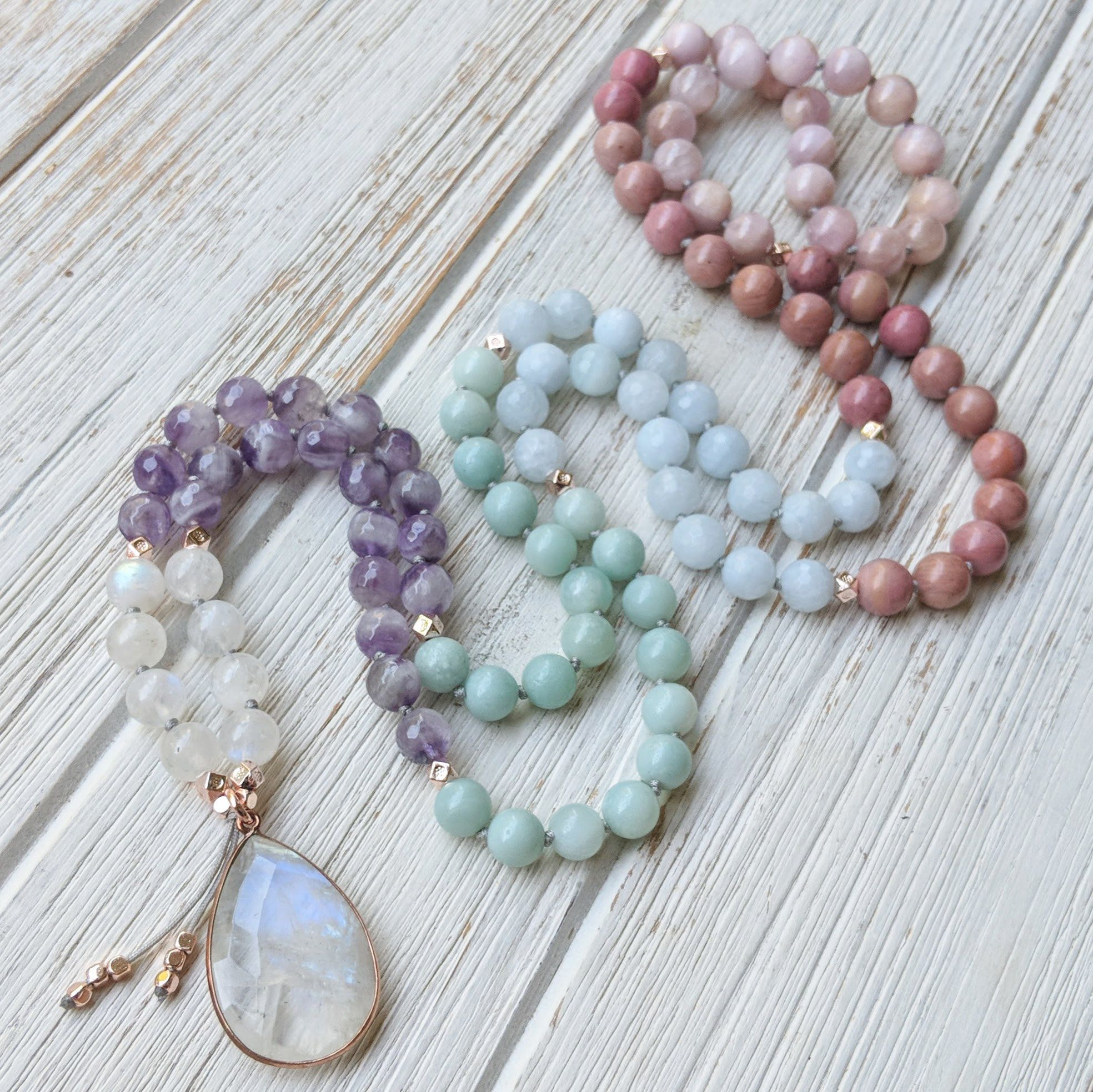 Divine Feminine Moonstone Mala Beads Amazonite Mala Aquamarine