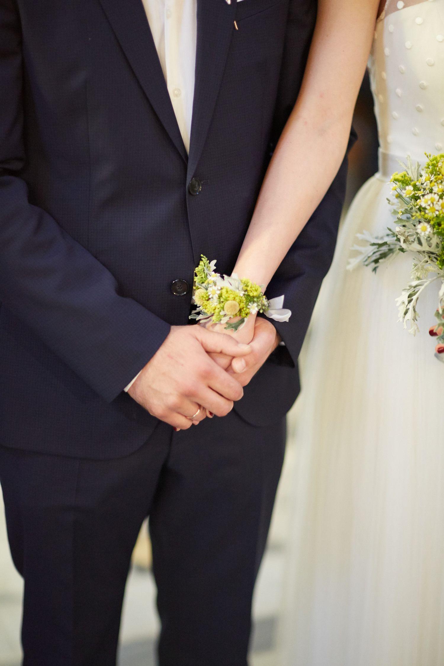 Bridal Flower Bracelet Craspedia Flower Corsage Wild Flowers