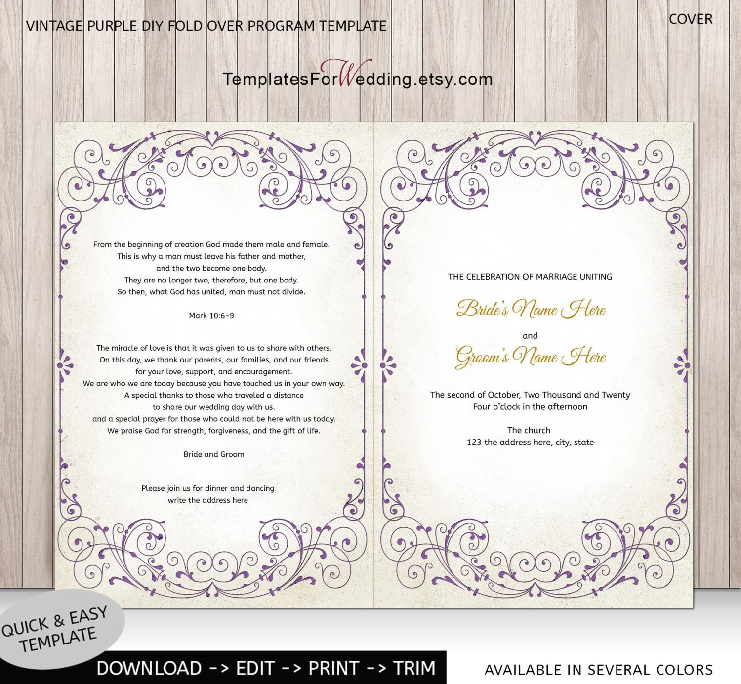 diy wedding program template ceremony program instant. Black Bedroom Furniture Sets. Home Design Ideas