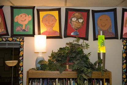 Don't forget a class art gallery ~ and make sure the kids sign their work!