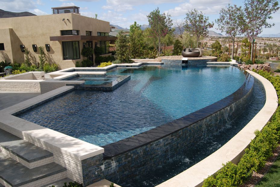 Custom negative edge pool pool pinterest swimming pools for Infinity pool design