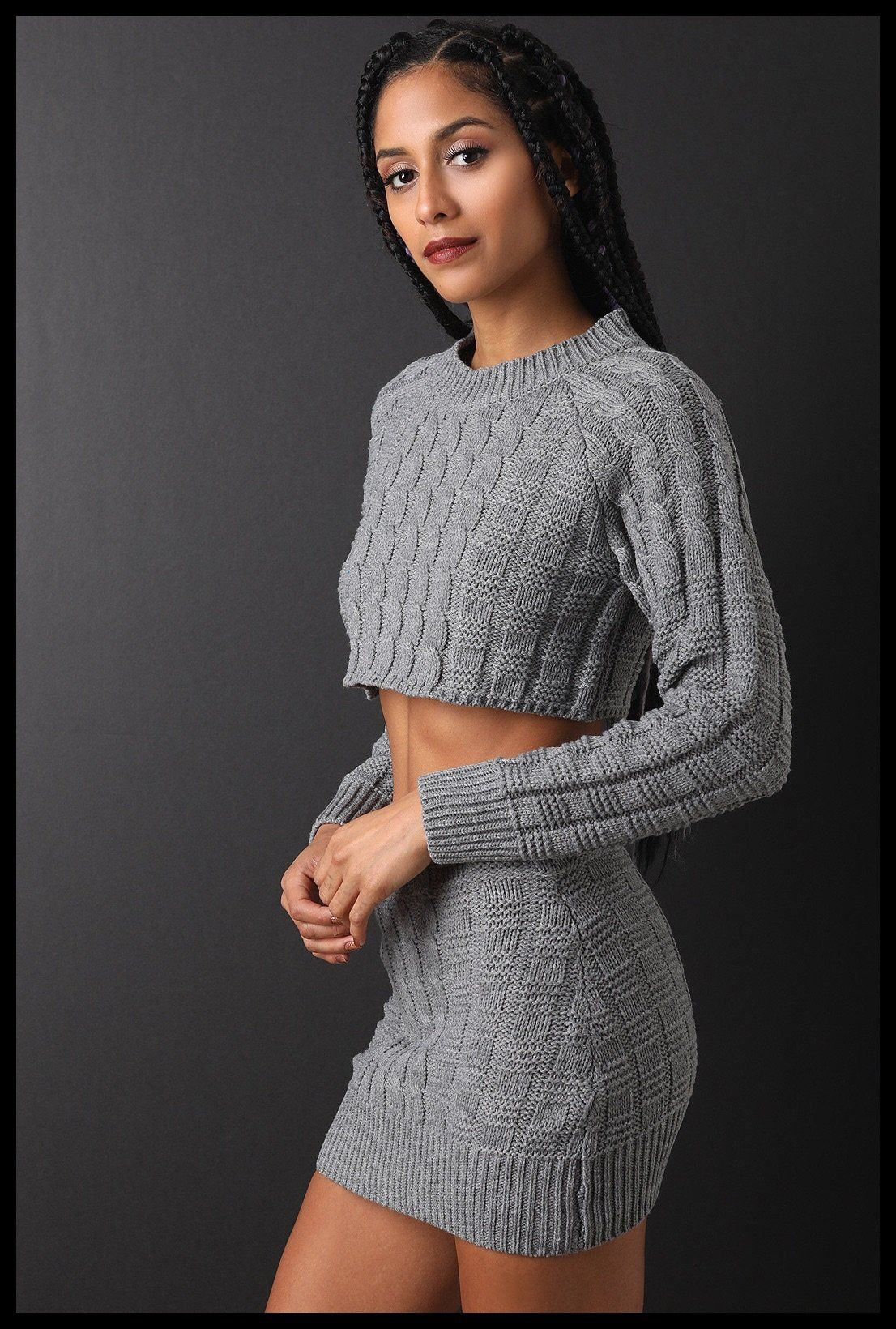 23ea7b64b7b Two-Piece Cable Knit Crop Sweater W  Mini Skirt Set In Gray ...