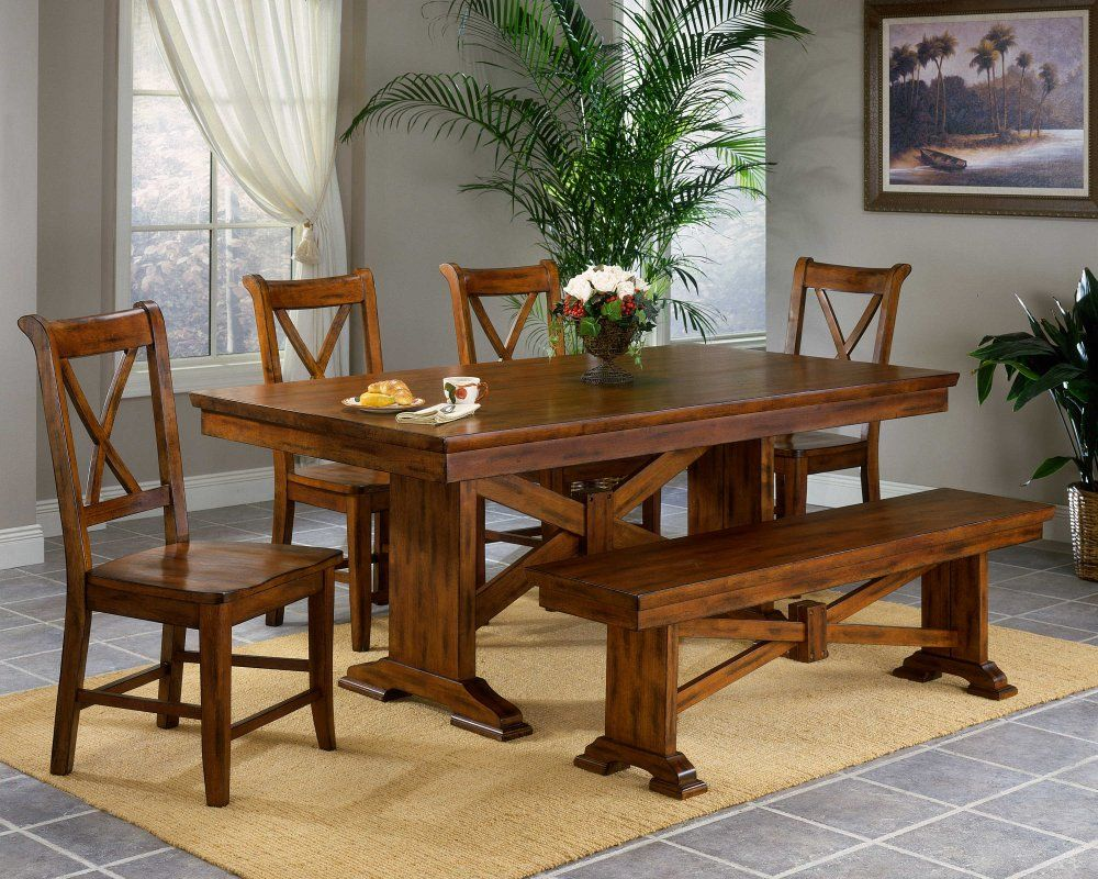 Cottage Style Furniture Trestle Dining Table Sets Decoration