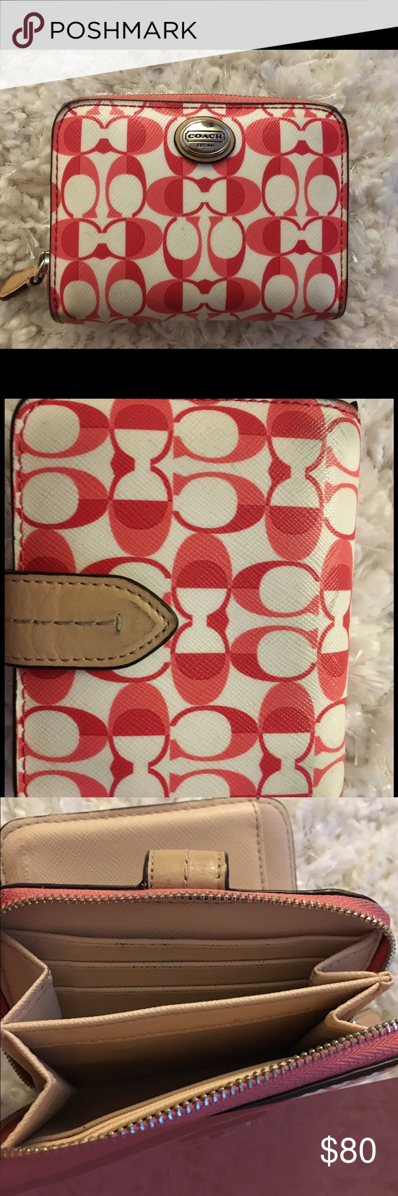 Coach Wallet Rare White Red And Pink Slightly Used Great Condition Bags Wallets