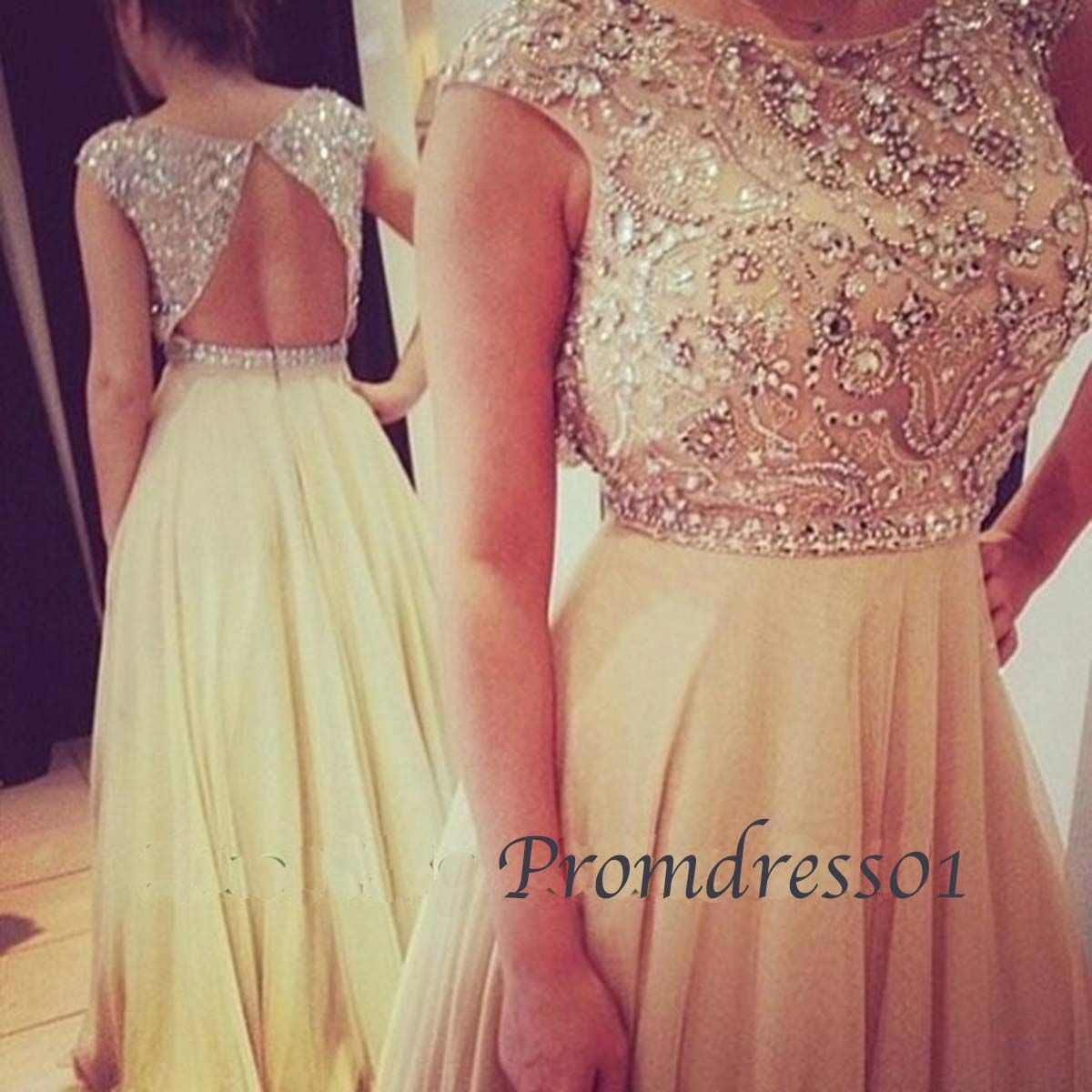 cute creamy white backless beaded chiffon vintage long prom