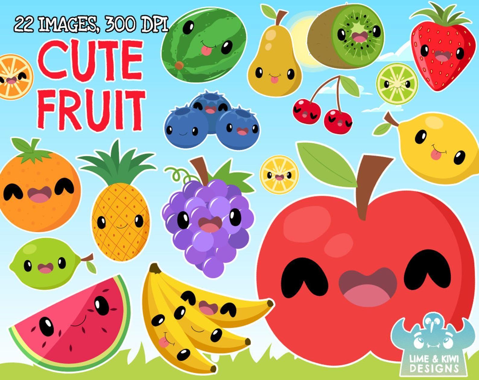 Cute Fruit Clipart Instant Download Vector Art Commercial Etsy Cute Fruit Clip Art Digital Clip Art