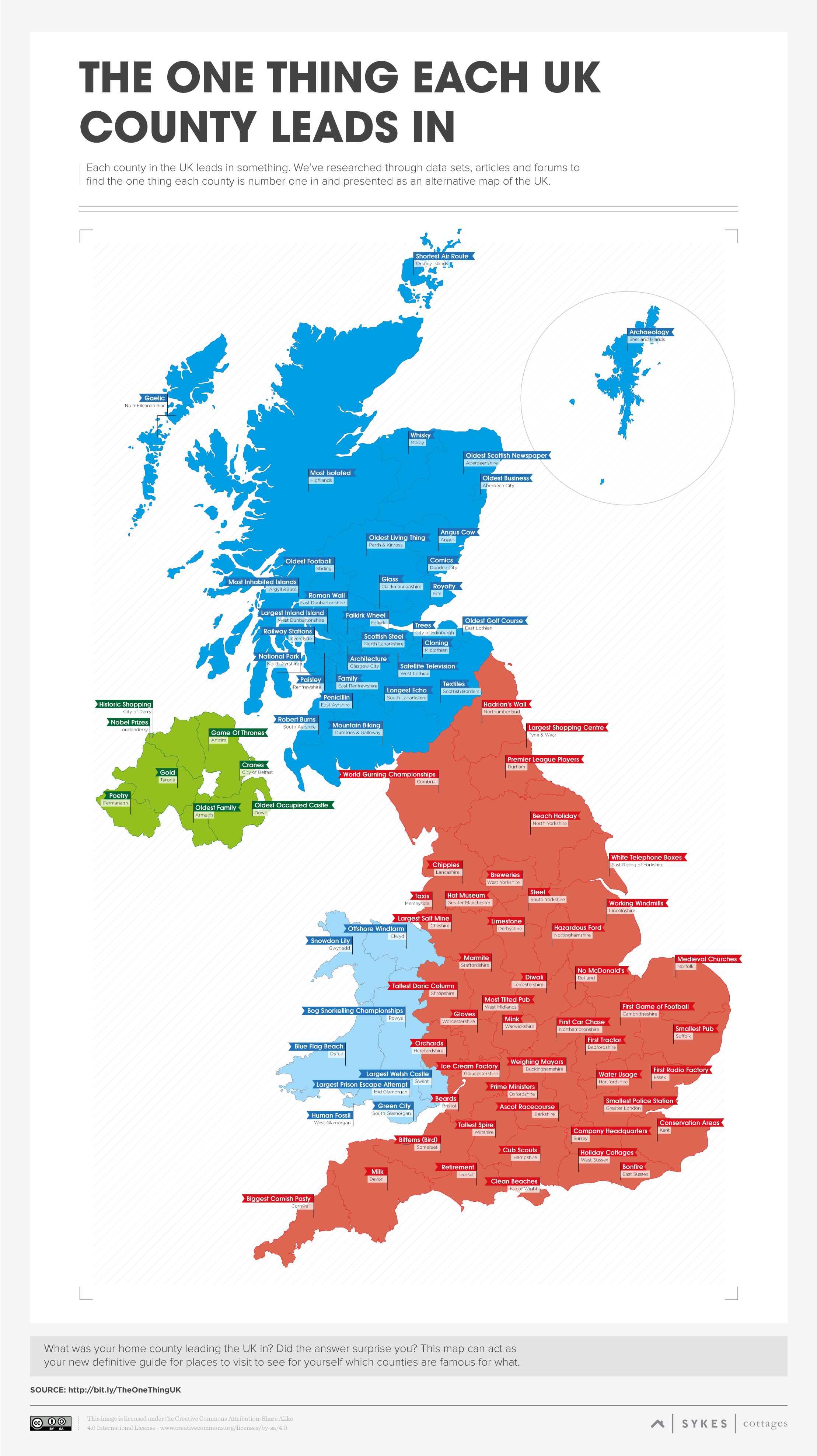 The One Thing Each Uk County Leads In Sykes Cottages Map Of Britain County Map British Isles Map