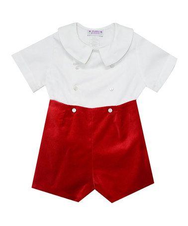 Look at this #zulilyfind! Red Velvet Romper - Infant & Toddler #zulilyfinds
