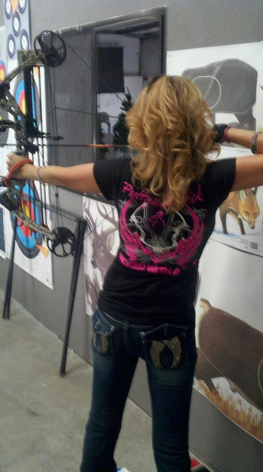 "Here I am sporting my ""Pretty in lipstick, Wicked with a Bow"" T-shirt at my 3D archery shoot! <3"