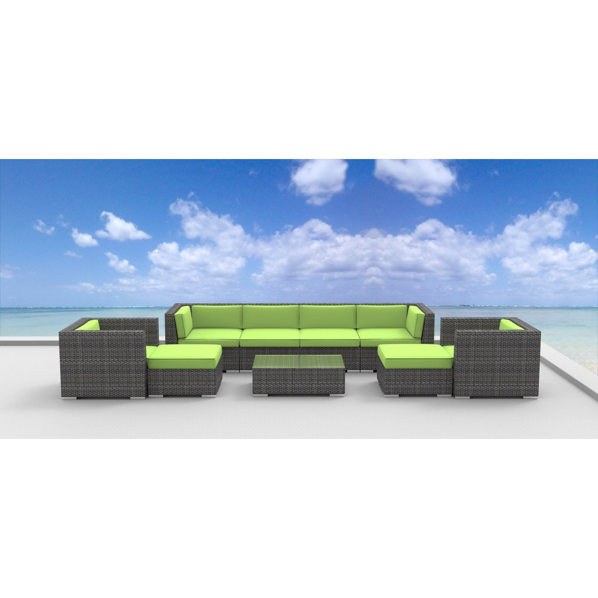Urban Furnishing Fiji 9 Piece Modern Outdoor Backyard Wicker Rattan Patio Furniture Sectional Sofa Set