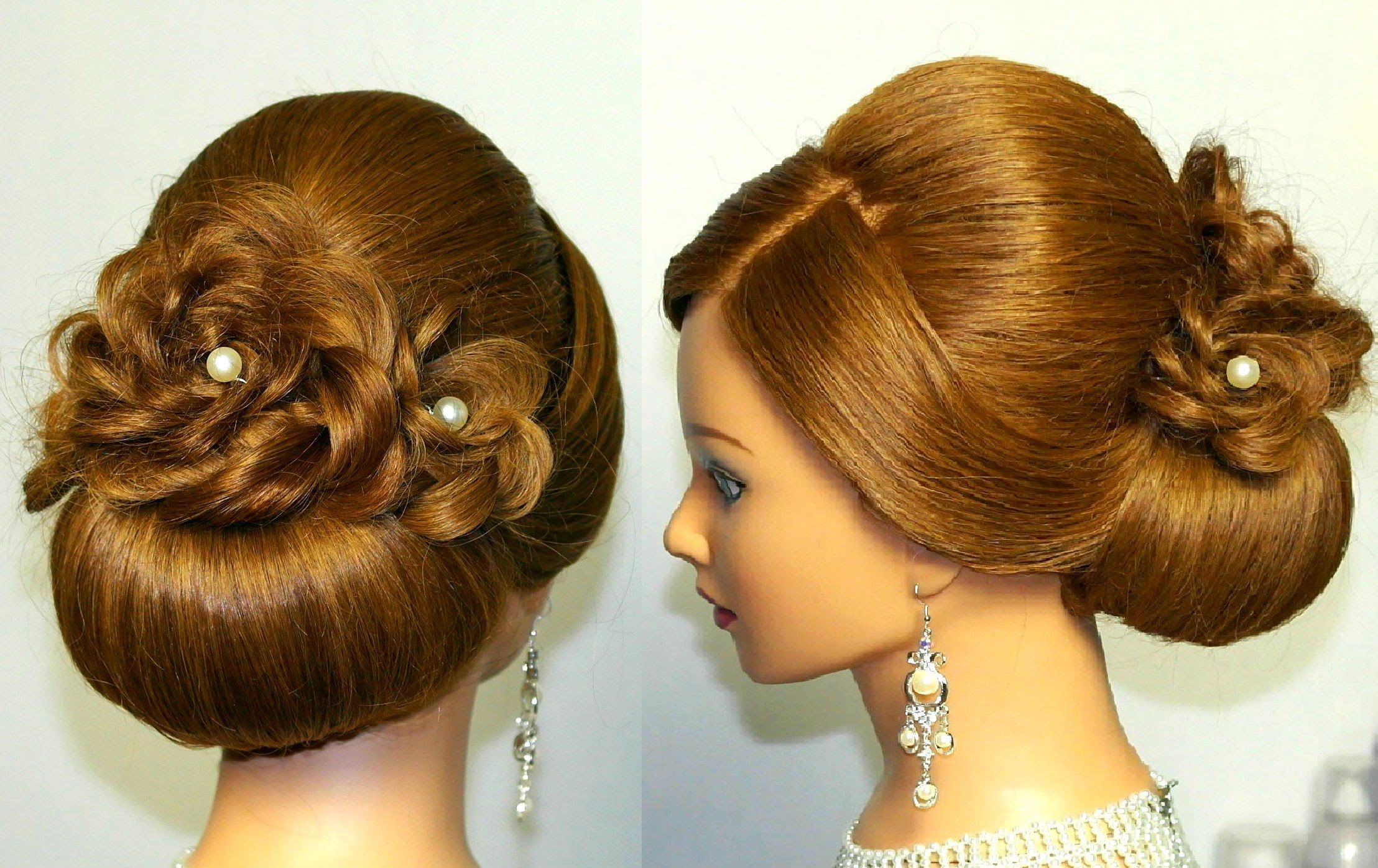 Wedding Prom Hairstyle For Long Hair Updo Tutorial With Braided Flowers Weddinghairflowers Long Hair Updo Braided Hairstyles For Wedding Hair Updos Tutorials