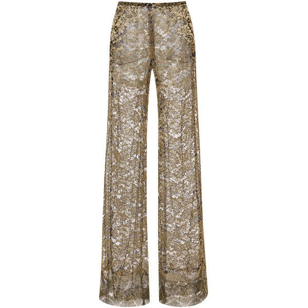 Roberto Cavalli Metallic Lace Wide Leg Pants ($4,205) ❤ liked on Polyvore featuring pants, wide-leg pants, brown trousers, metallic pants, brown pants and wide-leg trousers