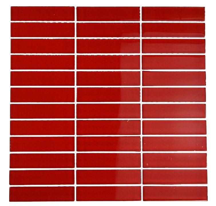 Loft Cherry Red Polished 1x4 Glass Tile 14 95 Mosaic Flooring Splashback Tiles Glass Tile