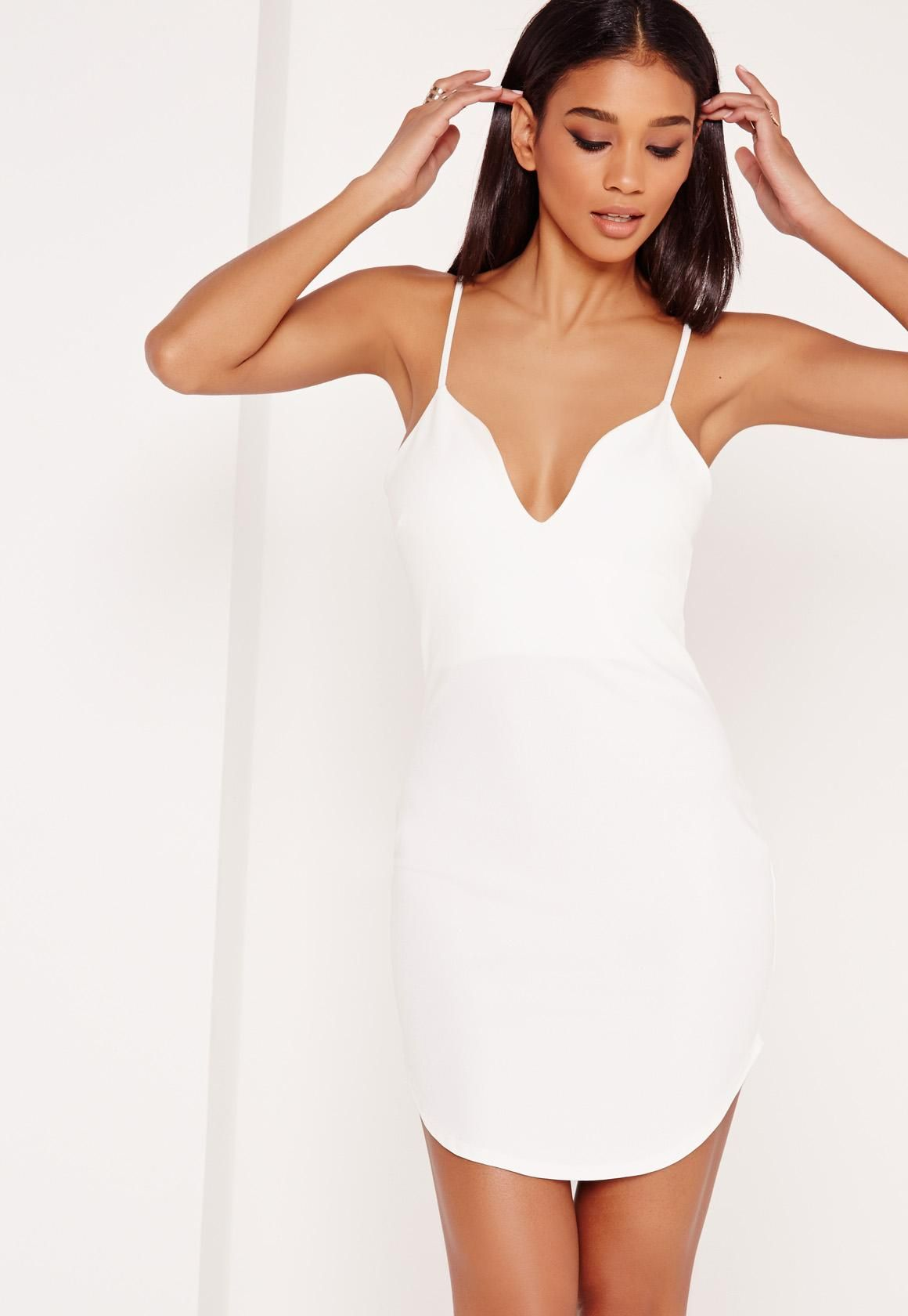 Missguided Strappy Plunge Bodycon Dress White Bodycon Dress Plunge Bodycon Dress White Bodycon Dress