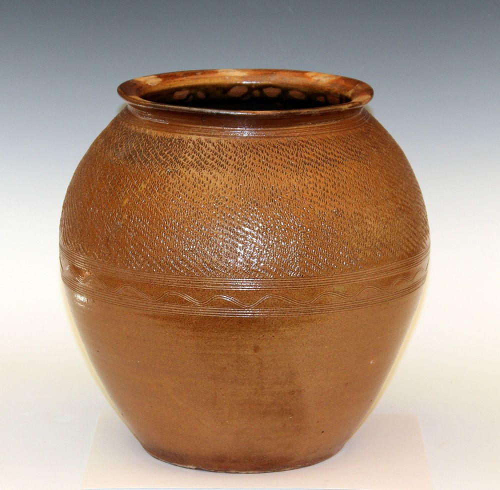 Large old vintage studio pottery stoneware jar vase incised sine large antique english brown stoneware jar vase incised sine wave salt glaze primitive british reviewsmspy