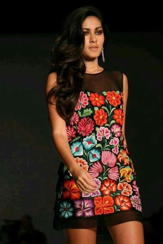Lovely Tehuana Dress Vestidos Bordados Ropa Bordada Y