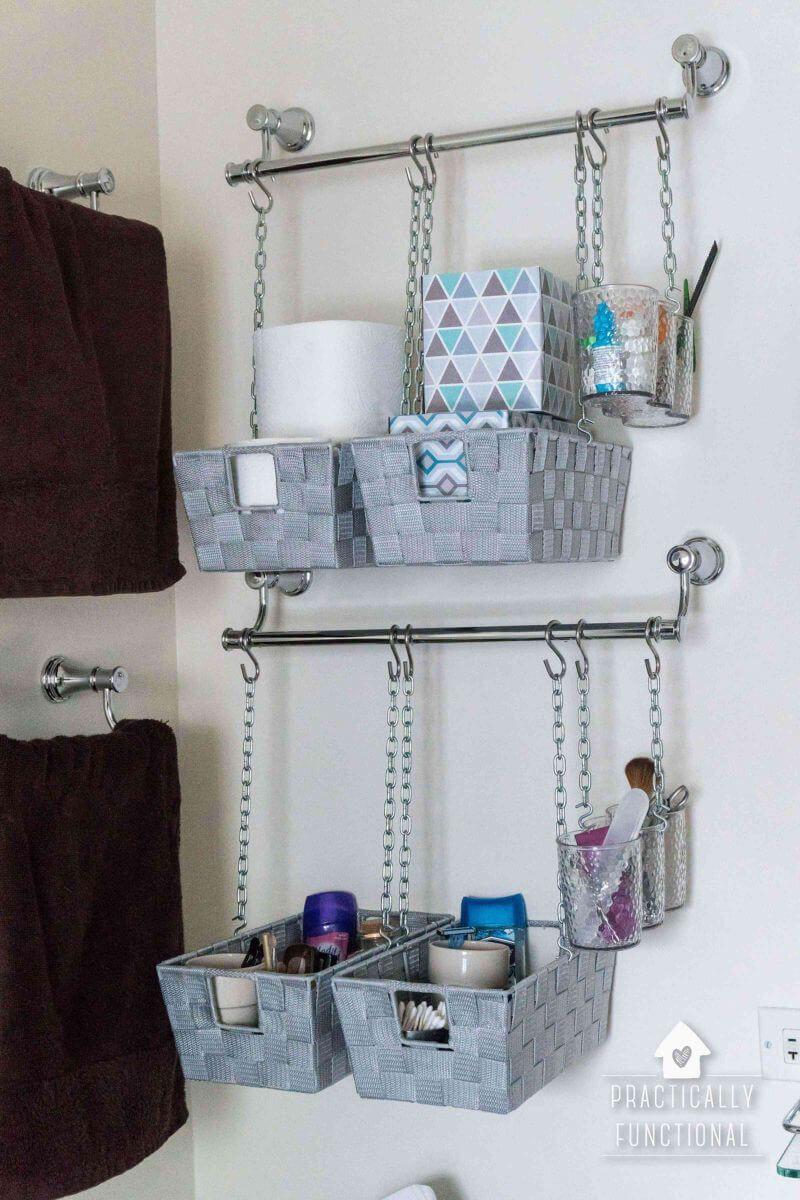 45 Hanging Bathroom Storage Ideas For Maximizing Your Bathroom Space Hangeaufbewahrung Wc Lagerung Badezimmer Aufbewahrung