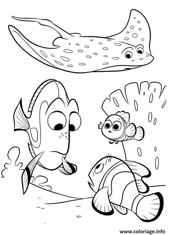 Coloriage mr raie avec dory de nemo dessin imprimer - Nemo coloriage ...