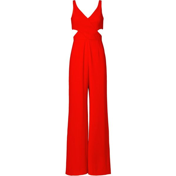 Rental Jay Godfrey Linc Jumpsuit ($75) ❤ liked on Polyvore featuring jumpsuits, dresses, red, red wide leg jumpsuit, jump suit, v neck jumpsuit, red jump suit and red jumpsuit