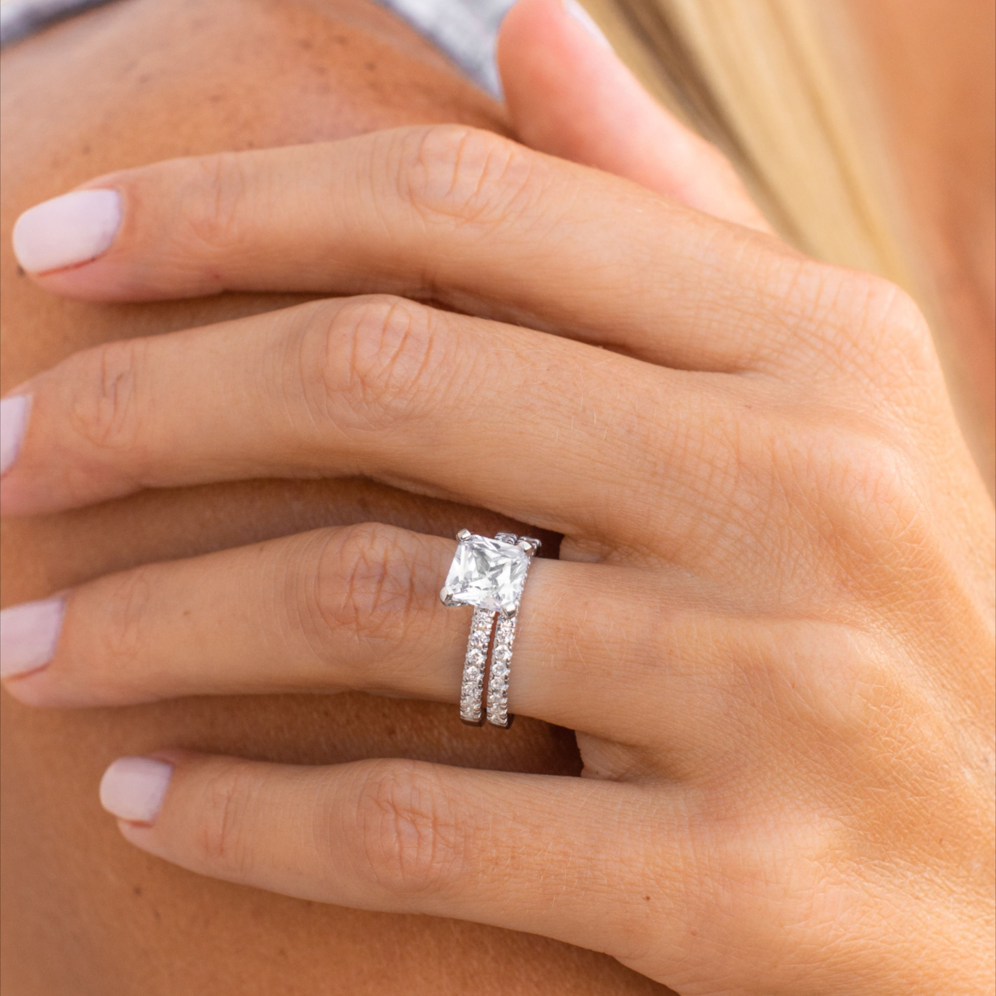 Women S Wedding Bands Stacked With Engagement Ring In 2020 Affordable Wedding Ring Affordable Wedding Ring Set Womens Wedding Bands