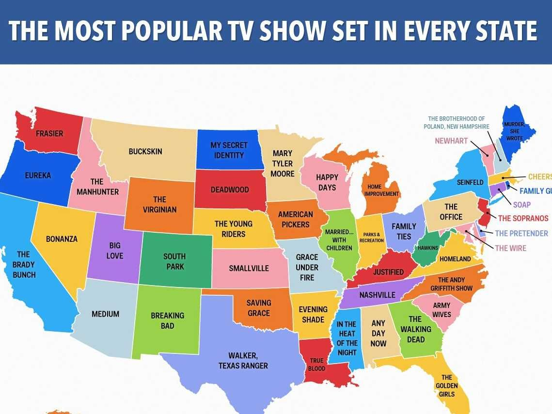 Show A Map Of The United States Of America.This Map Shows The Most Popular Tv Show Set In Every State