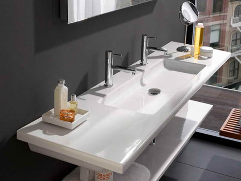 Laufen Sinks For Every Modern Bathroom With Black Wall Home - Undermount trough sink bathroom for bathroom decor ideas