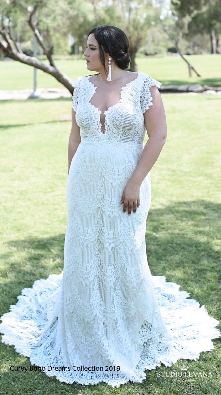 Plus size boho mermaid lace champagne wedding gown with a stunning