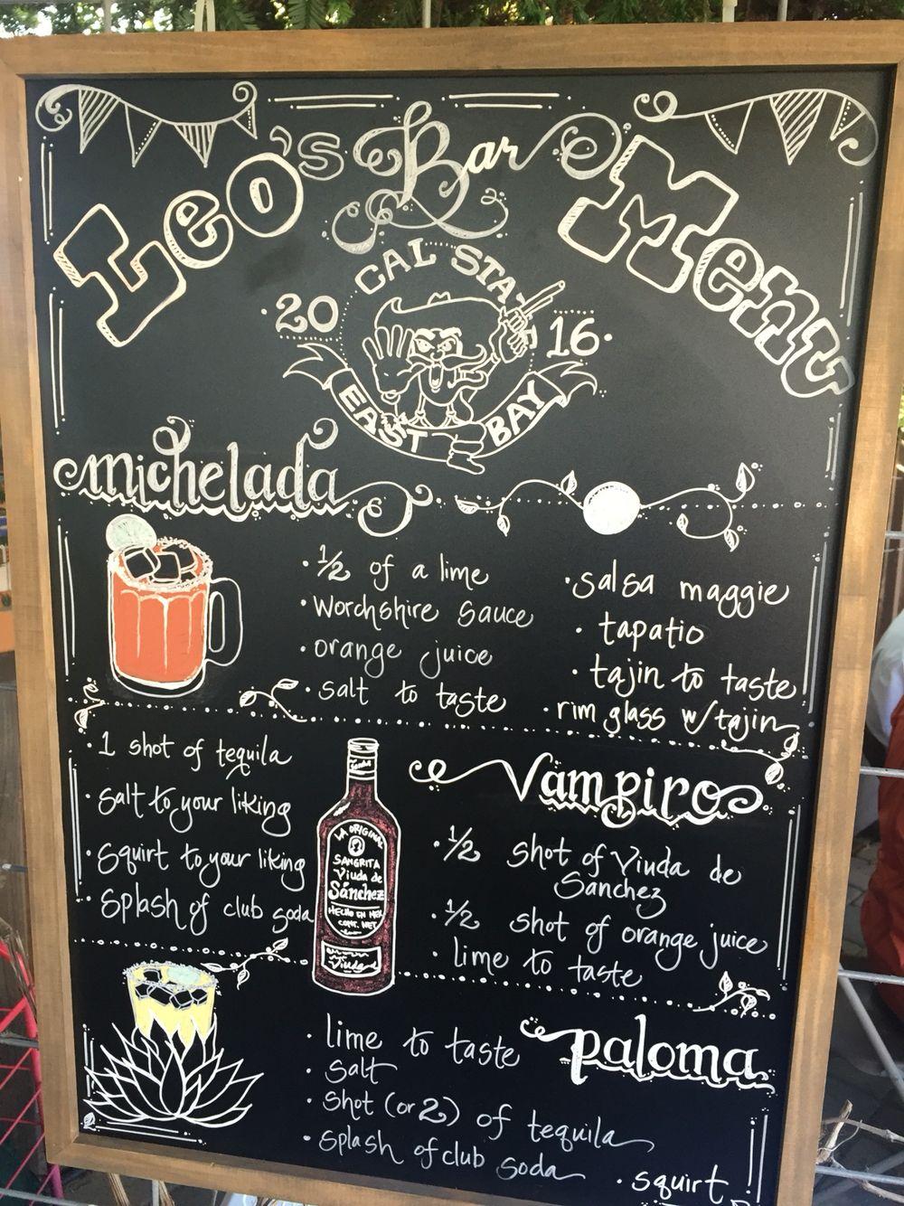 bar menu: chalkboard art (micheladas, vampiros, y palomas) | mexican