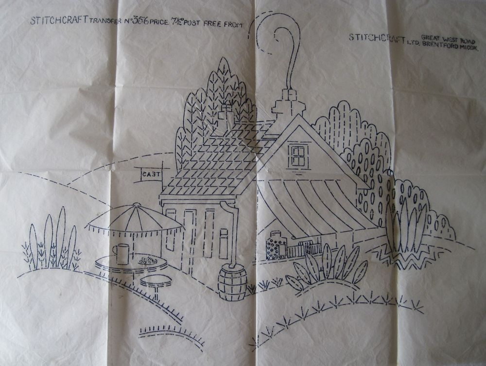 VINTAGE EMBROIDERY TRANSFER~QUAINT COUNTRY COTTAGE TEA ROOM/CAFE~15 ...