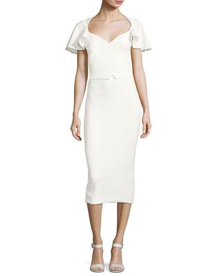 Zac Posen Flutter Sleeve Cutout Back Sheath Dress Ivory Dresses Zac Posen Cocktail Dress Sheath Dress