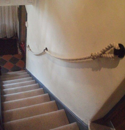 24mm Natural Hemp Rope Stairs Banister With Plain Round