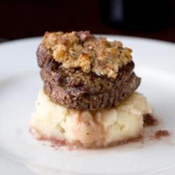 Blue Cheese Crusted Filet Mignon with Port Wine Sauce - Click image to find more Food & Drink Pinterest pins