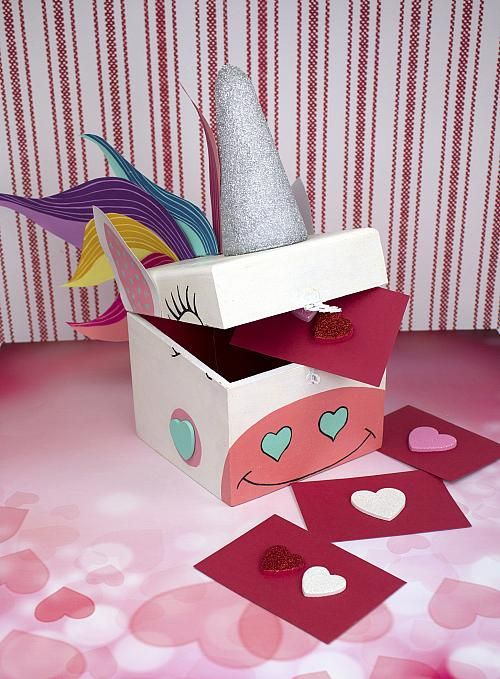 Painted Unicorn Valentine Card Box Make a Valentine card box – Box Valentine Cards