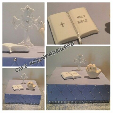 Samantha's First Holy Communion cake made from Red Velvet. All figurines were hand made.  All decorations are edible except the bling ribbon