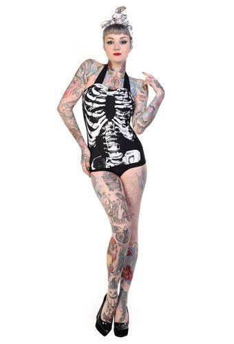 Banned Apparel Skeleton Ribcage Bikini Swimsuit Swim Costume Goth