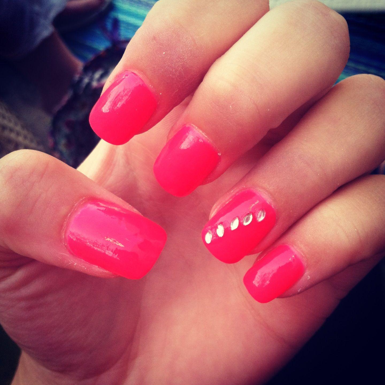 Hot pink nails with rhinestones #nailart #nails #rhinestones