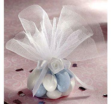White Tulle Circles Elegant Wedding Favors
