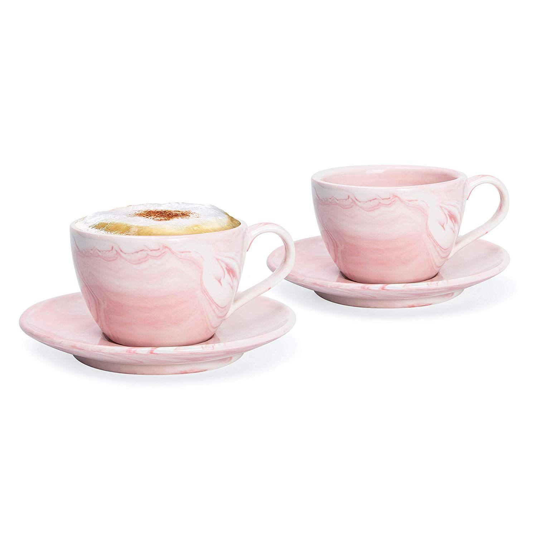 Hausmann Sohne Cappuccino Tassen Dickwandig 2er Set Pastell Rosa Marmor Tassen Mit Untertasse Porzellan Ta Cappuccino Porzellan Tasse Cappuccino Tassen