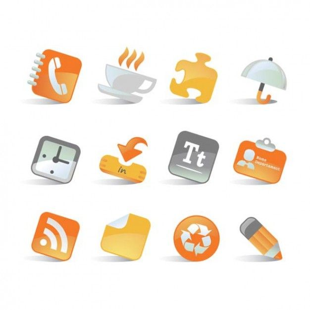 Orange business icon pack