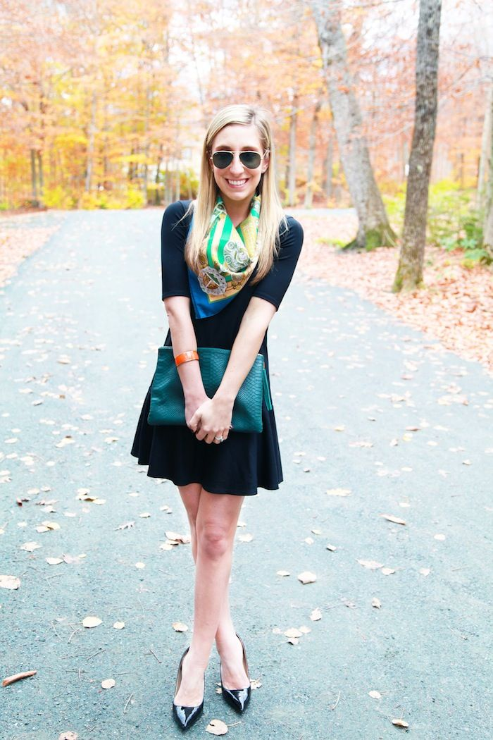 black dress, bright scarf