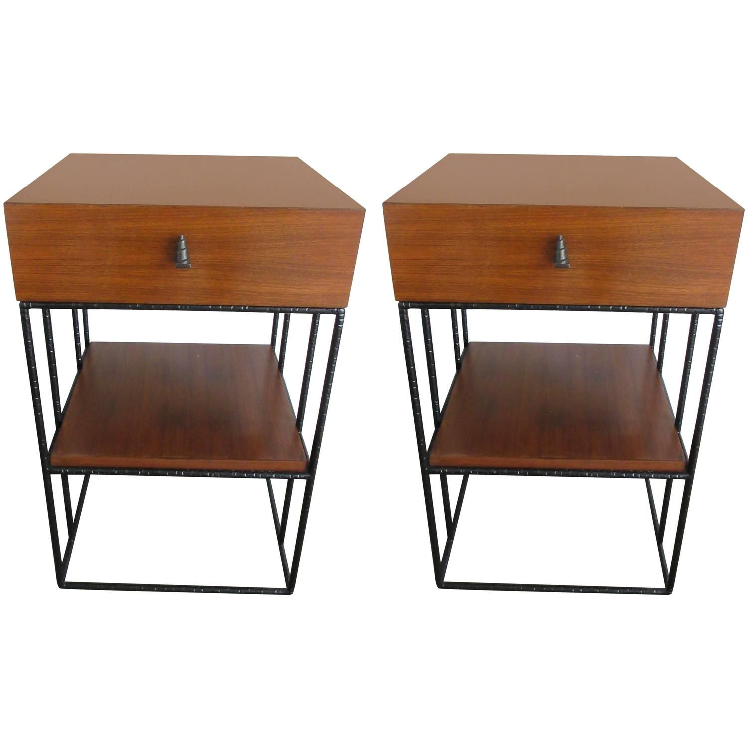 Pair Of Mid Century Two Level Maple Wood And Black Iron