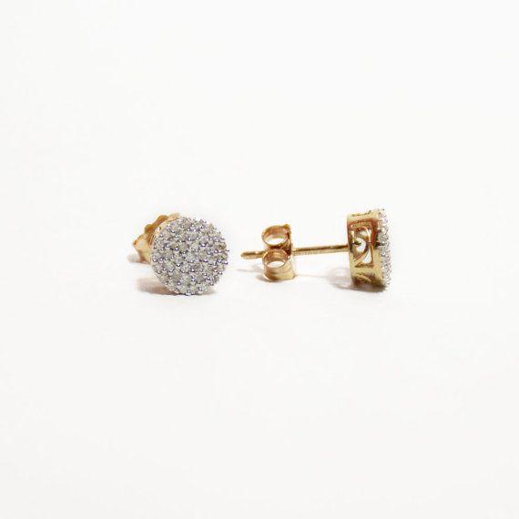 10k Diamond Cer Stud Earrings Yellow By Rubyandjuniper