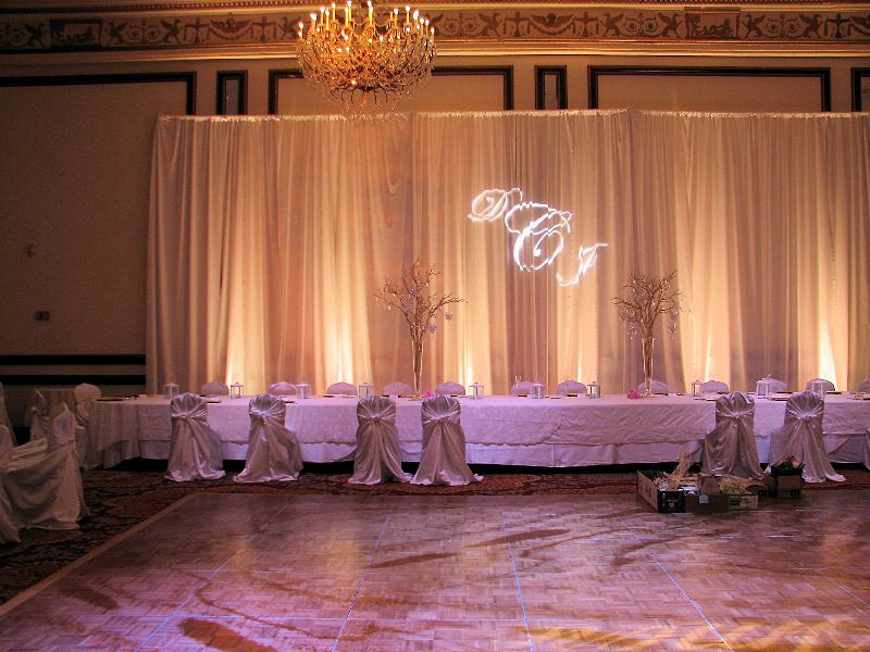 Bon With The Couples Initial Beaming On The Backdrop, The Bride And Groomu0027s  Head Table Is