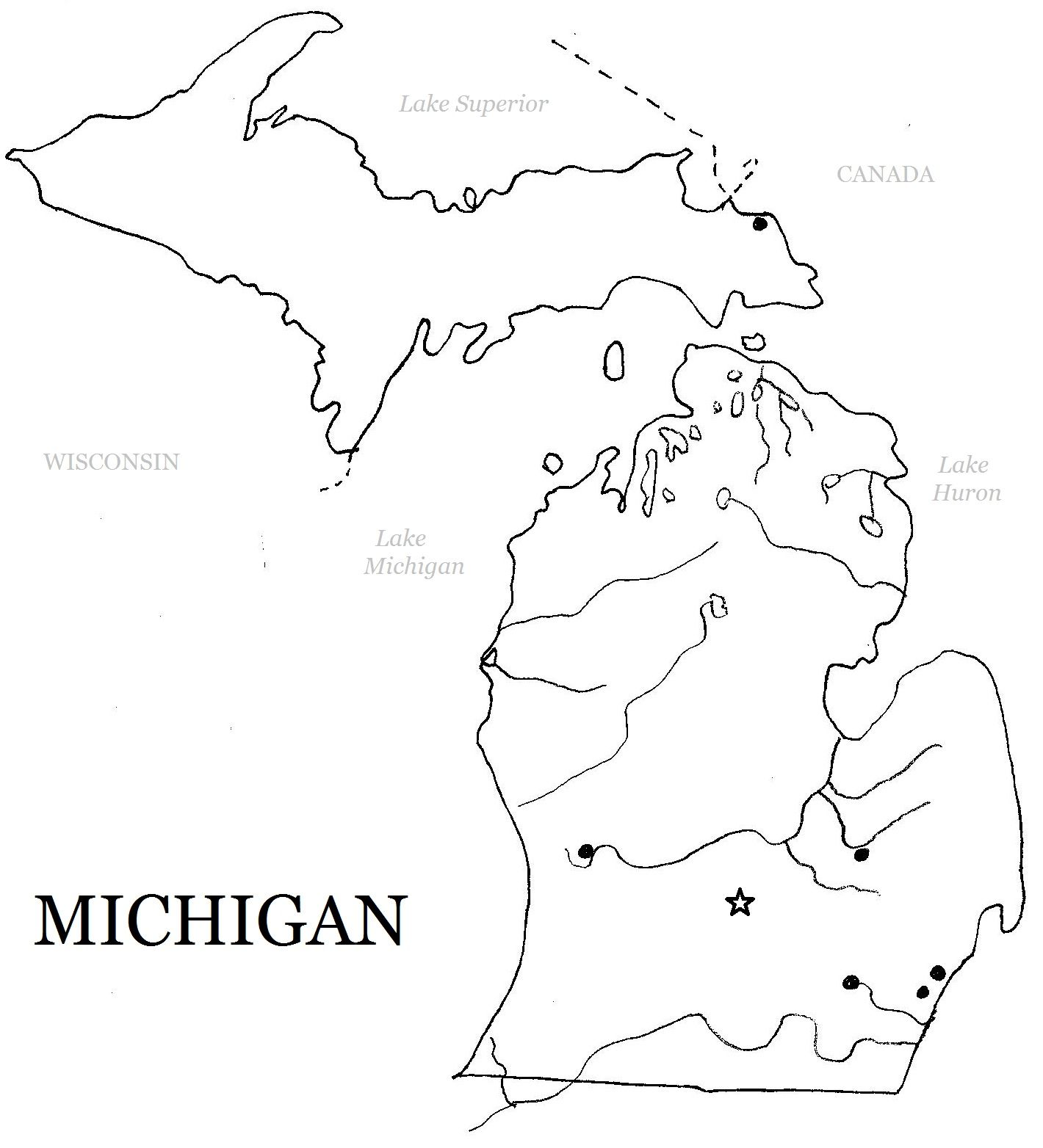 Printable Michigan Map For Art Ideas