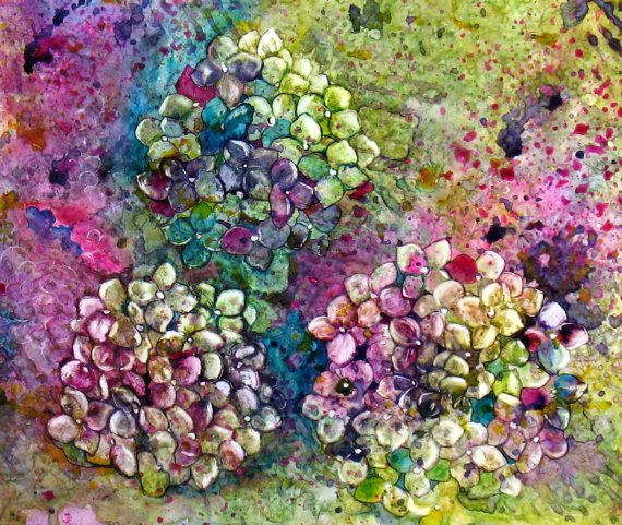 Flowers multi-colored painting, Hydrangeas, New Framed Watercolor on Yupo Painting with Exciting Color and Texture by MemoriesOnPaperByCJ