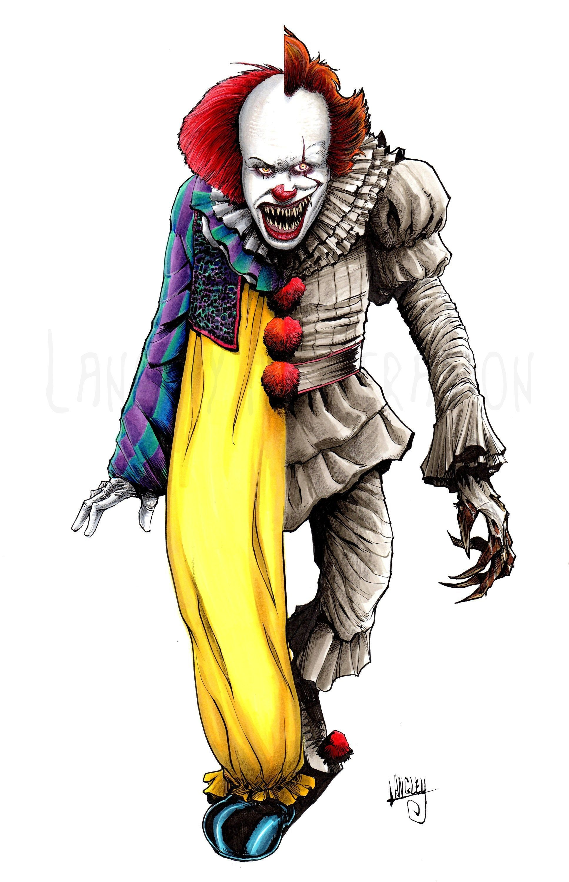 Pennywise Old New Signed 11x17 Print By Langleyillustration